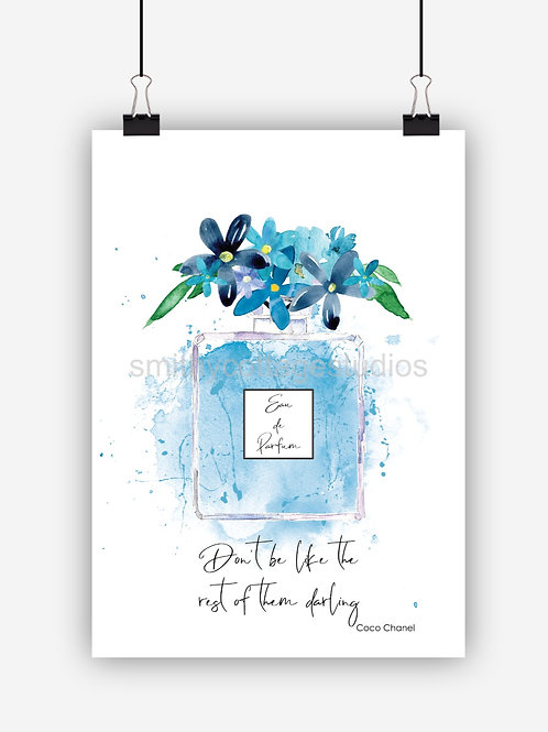 Blue Fashion Art Print 'Dont Be'