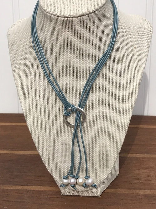4 Strand Lauriat with Freshwater Pearls on Leather