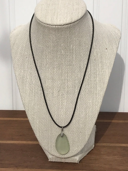 Light Green Seaglass Pendant on Black Leather