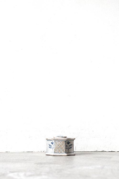 白釉色絵インク容器