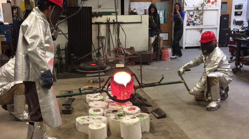 A bronze pour at Pratt