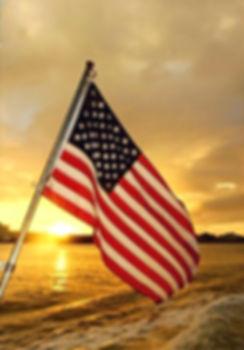 US flag Sunset Aquarius Boat Rental