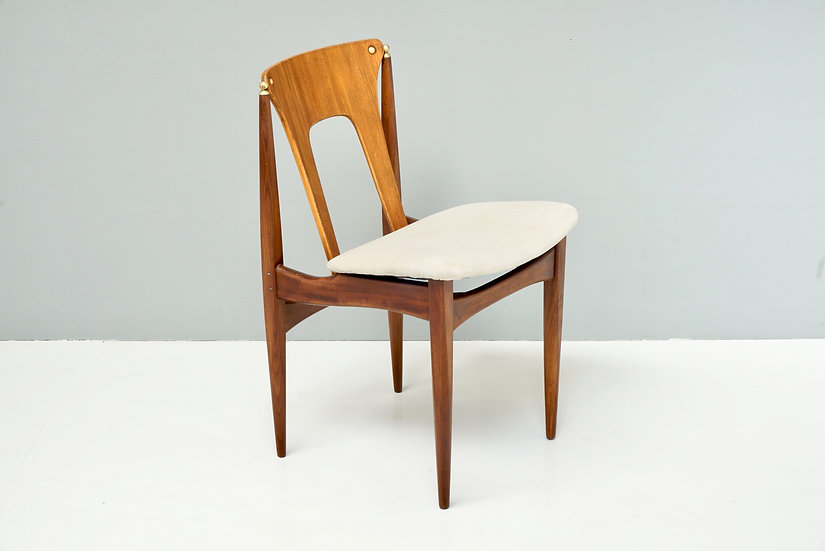 Single Mid Century Chair with Brass Details