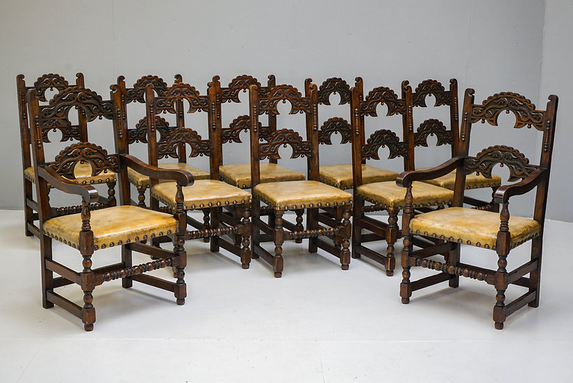 Set of 10 Oak Dining Chairs