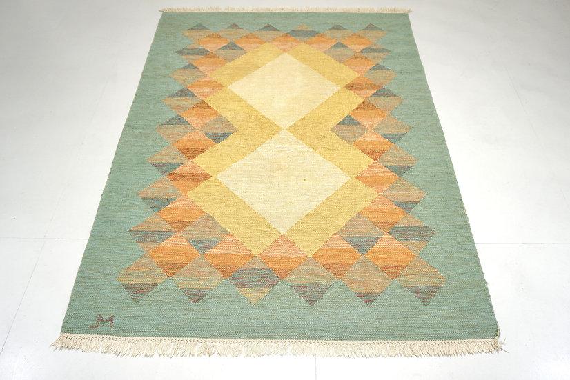 Swedish Mid century rug Signed JM