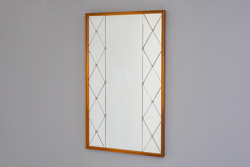 Mid Century Swedish Mirror with Romboid/Diamond Columns