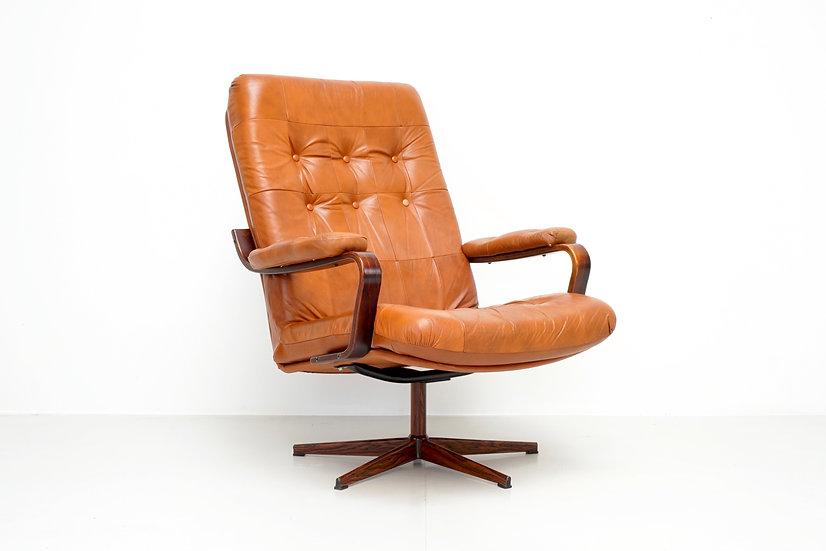 Cognac Leather Swivel Armchair