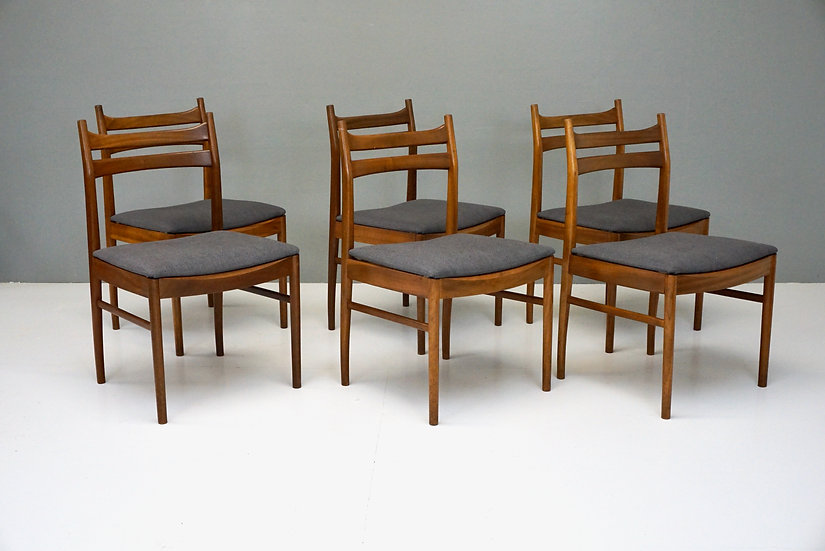 Set of Six Mid Century Teak Dining Chairs