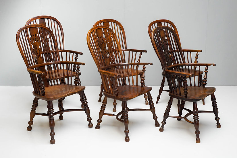 Group of Six Yew Wood Thin Arm Windsor Chairs
