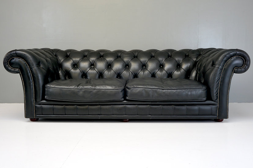Large Black Chesterfield Settee