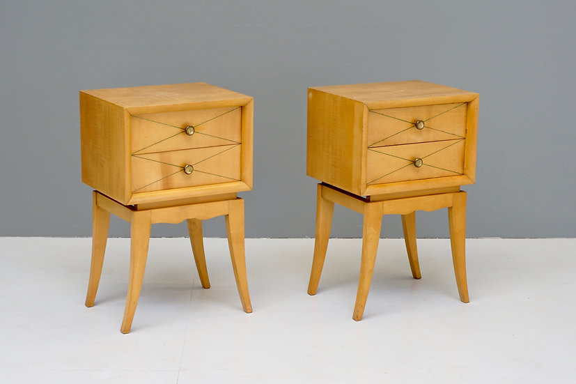 Pair of Satin Birch Bedside Drawers