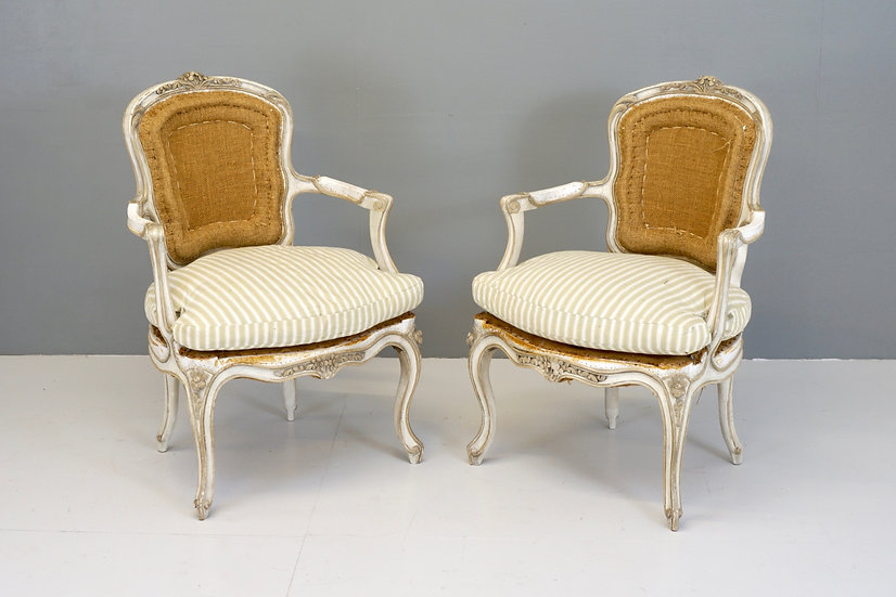 Pair of French Open Armchairs