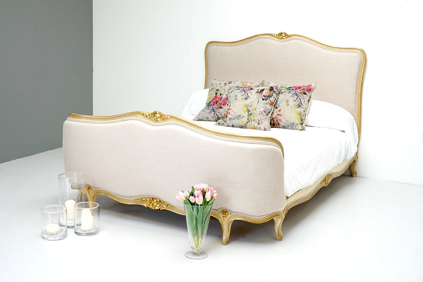 French Gilded Corbeille End Bed