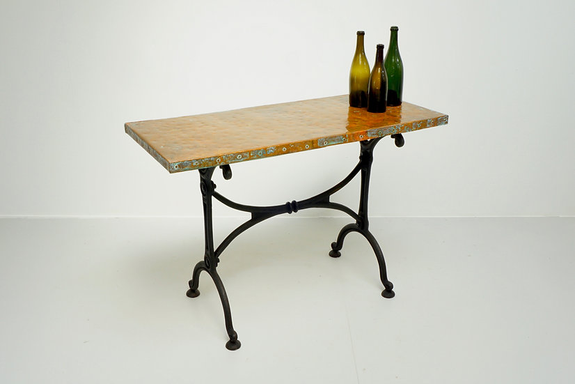 Copper Topped Cast Iron Table