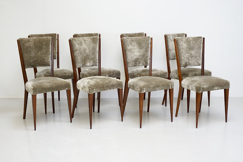 Set of 8 Mid Century Italian Dining Chairs