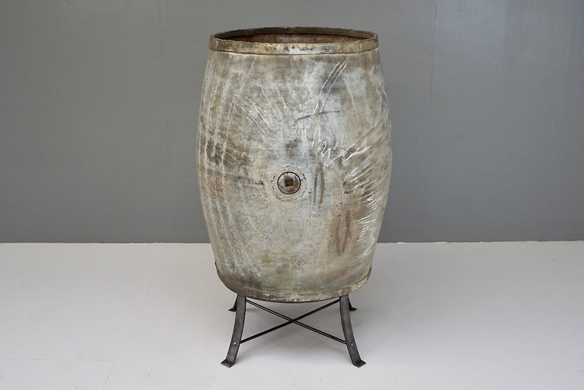 Large Steel Barrel on Stand