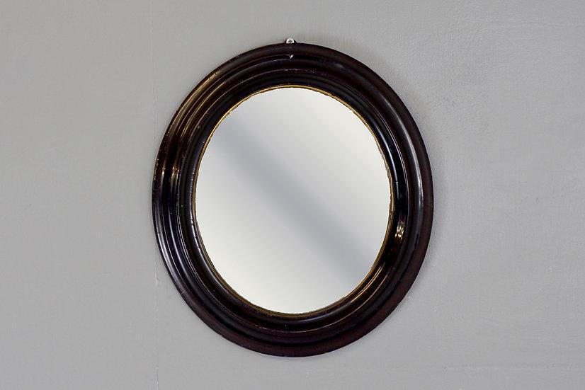 Petite Ebonised Oval Mirror