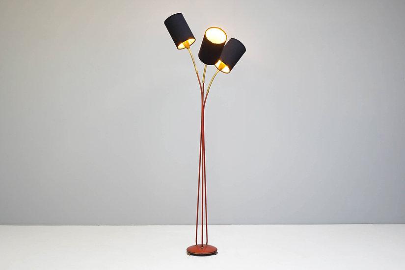 Mid Century Swedish Three-Light Floor Lamp