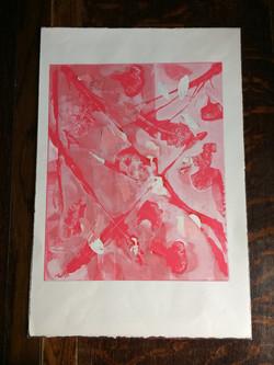 038 Pink Leaves 40 x 33