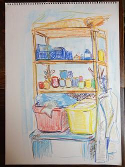 188 sketch of studio shelf 59 x 42 L