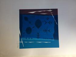 049 Blue Geometric 33 x 33 Signed