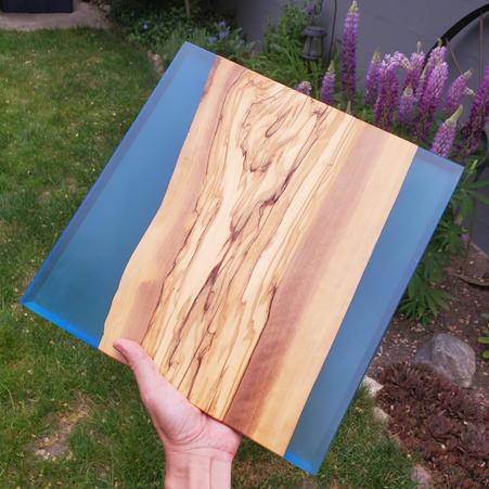 OLIVE WOOD WITH BLUE EPOXY 2 - $120