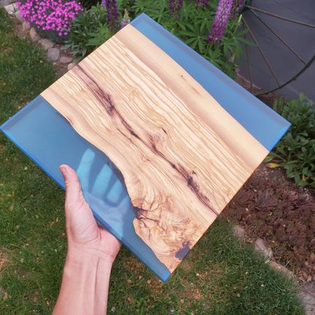 OLIVE WOOD WITH BLUE EPOXY 1 - $120