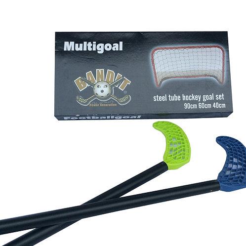 Unihockey Set bestehend aus 2 Stöcken, 2 Bällen 1 Goal