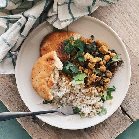 Diner: Garam Masala met spinazie & kikkererwten