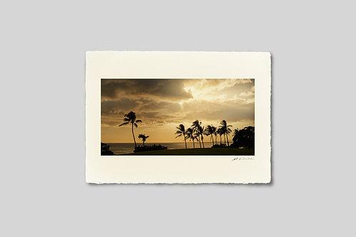 手漉き和紙,写真,インテリア,ハワイ,海,風景,夕景,ヤシの木,トロピカル,南国,リゾート,ポスター,インテリアフォト,大きいサイズ,額装,和室,オリジナルプリント,アート,おしゃれ,モダン,壁掛け,プレゼント