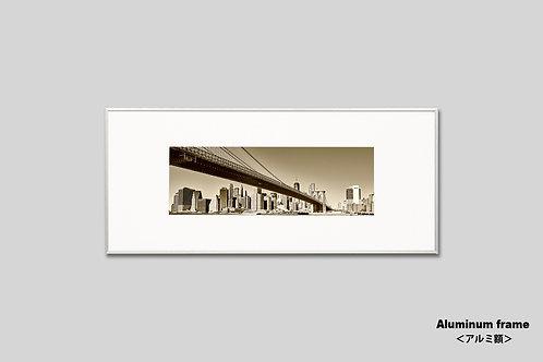 ニューヨーク,橋,ブルックリンブリッジ,インテリア,横長写真,風景,都会,ビル,マンハッタン,街並み,インテリアフォト,アート,額入り,額装,オリジナルプリント,橋,アートフレーム,フォトフレーム,おしゃれ,モダン,プレゼント,壁掛け,壁飾り,装飾