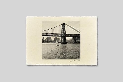 手漉き和紙,写真,インテリア,ニューヨーク,ウィリアムズバーグブリッジ,橋,ビル群,おしゃれ,インテリアフォト,風景,アート,モダン,プレゼント,ギフト,ハガキサイズ,部屋飾り