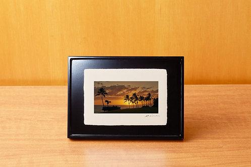 手漉き和紙,写真,風景,ハワイ,海,ビーチ,ヤシの木,南国,夕景,インテリアフォト,アートフレーム,おしゃれ,モダン,卓上額,置き型,装飾オリジナルプリント,フォトフレーム,プレゼント,ギフト