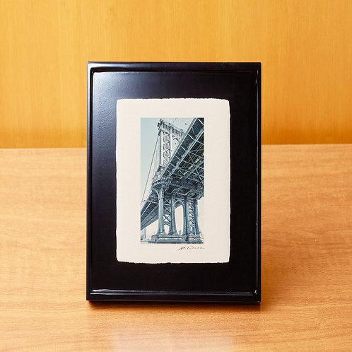 手漉き和紙,写真,インテリア,ニューヨーク,マンハッタンブリッジ,橋,おしゃれ,インテリアフォト,風景,アートフレーム,モダン,プレゼント,ギフト,卓上額,置き型,ハガキサイズ,雑貨,フォトフレーム
