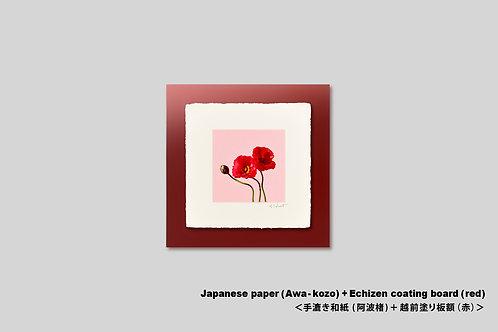 手漉き和紙,インテリア,花の写真,ポピー,赤い花,フラワー,ピンク,可愛い,ポップ,正方形,和室,インテリアフォト,アート,プレゼント,額装,オリジナルプリント,アートフレーム,アートポスター,おしゃれ,モダン,新築祝い,壁掛け,壁飾り,装飾
