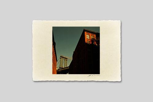 手漉き和紙,写真,インテリア,ニューヨーク,マンハッタンブリッジ,橋,ブルックリン,ダンボ地区,おしゃれ,インテリアフォト,風景,アート,モダン,プレゼント,ギフト,ハガキサイズ,部屋飾り