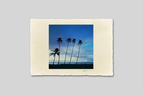 手漉き和紙,写真,風景,海,ハワイ,ビーチ,ヤシの木,南国,インテリアフォト,アートフレーム,おしゃれ,モダン,ハガキサイズ,装飾,オリジナルプリント,フォトフレーム,プレゼント,ギフト