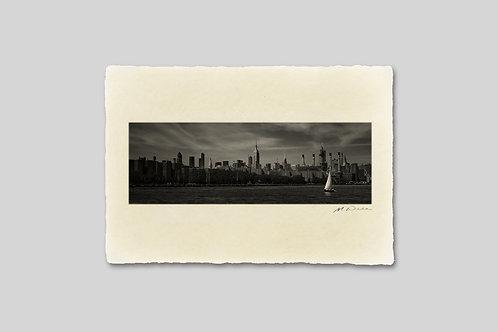 手漉き和紙,写真,インテリア,ニューヨーク,マンハッタン,ビル群,ヨット,おしゃれ,インテリアフォト,風景,アート,モダン,プレゼント,ギフト,ハガキサイズ,部屋飾り