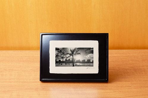 手漉き和紙,写真,風景,ハワイ,ビーチ,ヤシの木,ワイキキ,インテリアフォト,アートフレーム,おしゃれ,モダン,卓上額,置き型,装飾オリジナルプリント,フォトフレーム,プレゼント,ギフト
