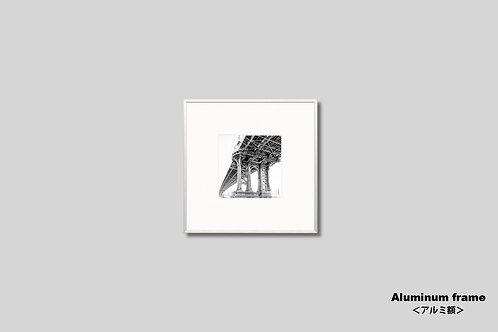 ニューヨーク,橋,写真,マンハッタンブリッジ,インテリア,モノクロ,正方形,額入り,壁掛け,インテリアフォト,アート,額装,オリジナルプリント,アートフレーム,おしゃれ,モダン,プレゼント,壁飾り,装飾,ウォールアート