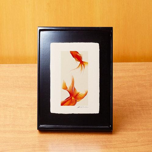 手漉き和紙,写真,金魚,インテリアフォト,おしゃれ,モダン,アートフレーム,卓上額,置き型,装飾,オリジナルプリント,フォトフレーム,プレゼント,ギフト