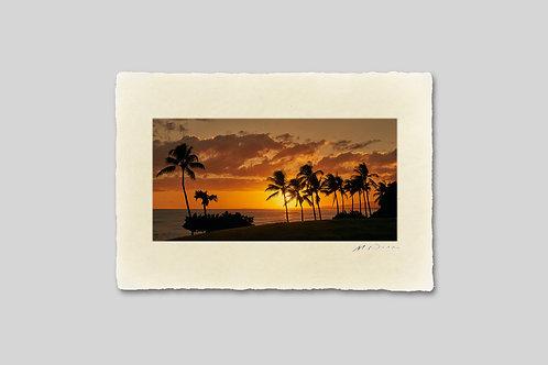 手漉き和紙,写真,風景,海,ハワイ,ビーチ,ヤシの木,南国,夕景,インテリアフォト,アートフレーム,おしゃれ,モダン,ハガキサイズ,部屋飾り,装飾,オリジナルプリント,フォトフレーム,プレゼント,ギフト