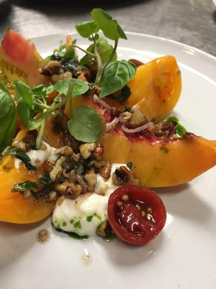 Peaches, Tomato and Burrata Salad