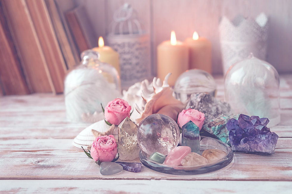 gemstones crystal minerals, candle and s