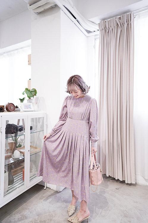 [現貨賣光不補] 香芋粉紫淡黃小碎花連身裙