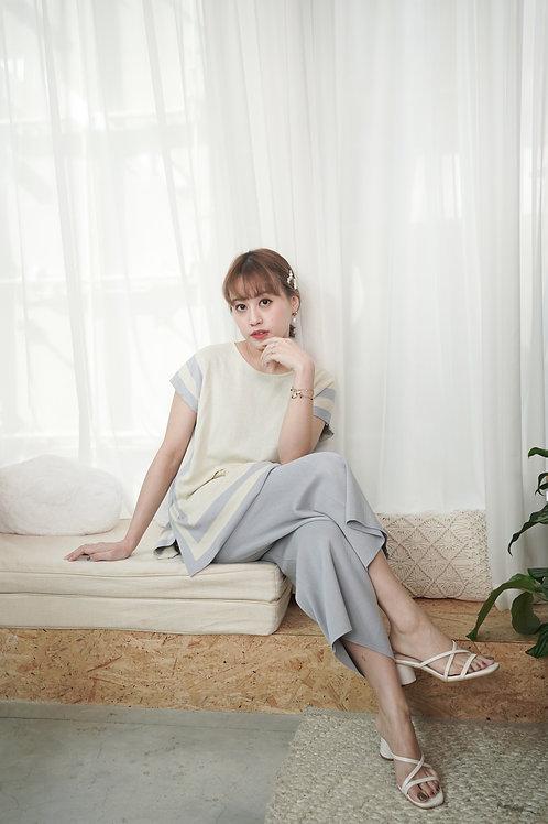 [預訂] 韓劇貴婦框線針織上衣九分褲套裝(粉藍拼白)
