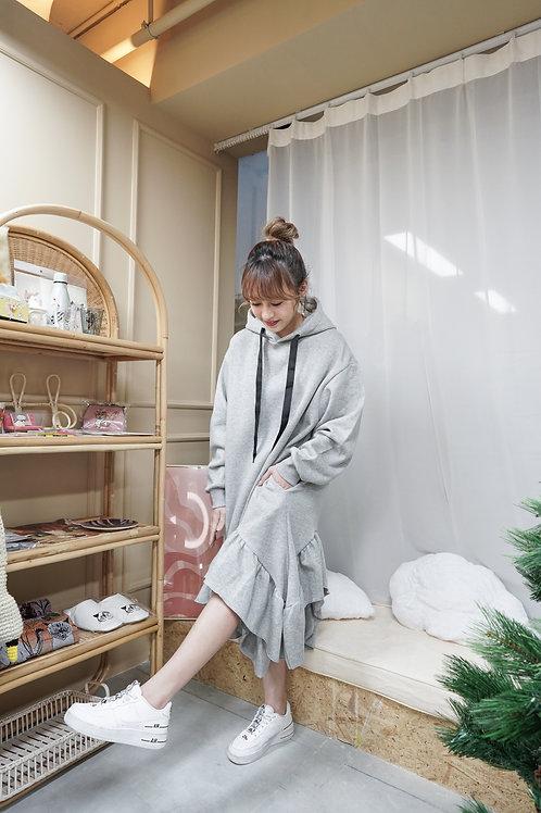 [預訂] 不規則荷葉邊邊抓毛連帽衛衣連身裙(灰色)