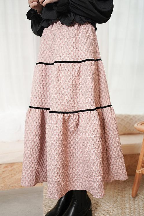 [預訂] 高質挺身微光感菱格紋蛋糕半身裙(粉黑拼色)