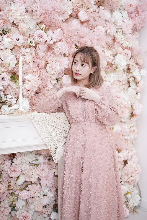 [預訂] 立體睫毛雪紡豹紋肉粉色連身裙外套兩穿