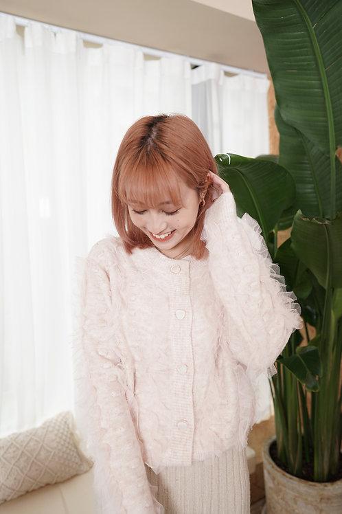 [預訂] 超軟滑拼ruffle紗點點針織上衣/外套兩穿(淡粉色)